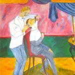 Le Barbier, d'après Larionov, acrylique sur toile d'Hélène