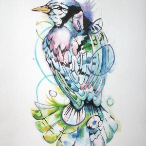 oiseau, encres et aquarelle par Audrey