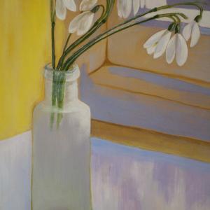 Perce-neige, huile sur toile de Françoise