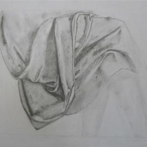Étude de drapé, dessin au crayon de Prim