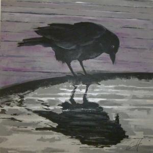Le Corbeau, acrylique sur toile de Christine